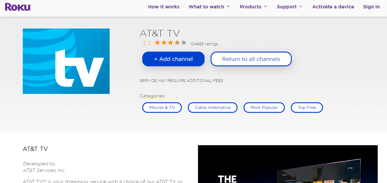 Add AT&T TV on Roku TV