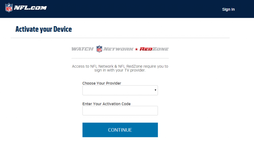 Enter the Activation Code - NFL on Roku