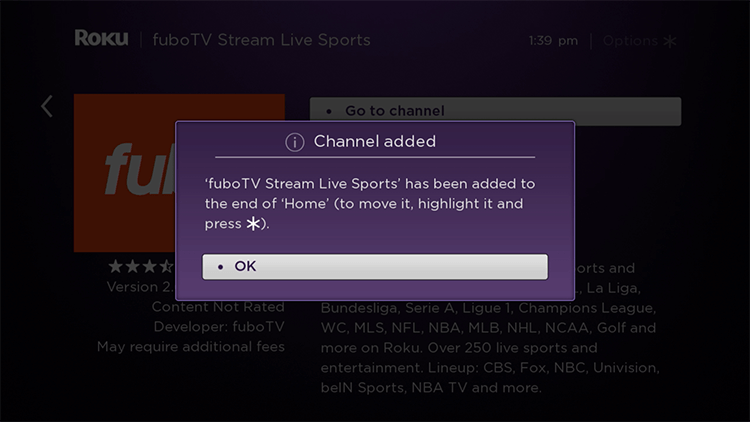 Install FuboTV App on Roku
