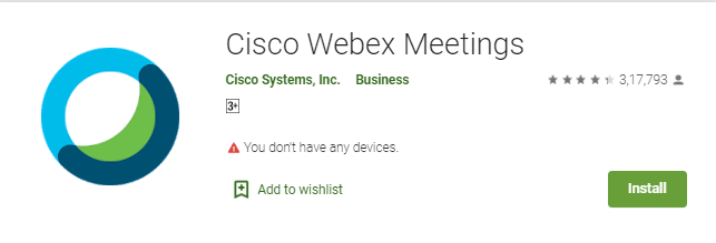 Cisco WebEx Meetings app on Roku from  Android
