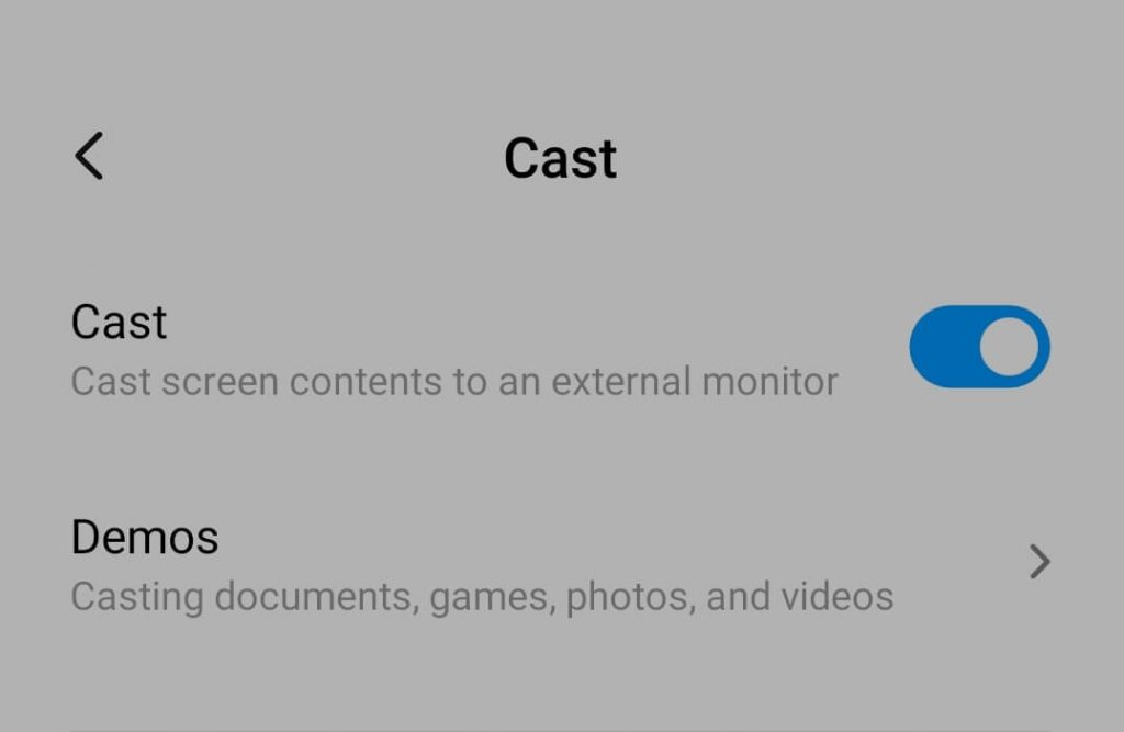 Enable android cast option.