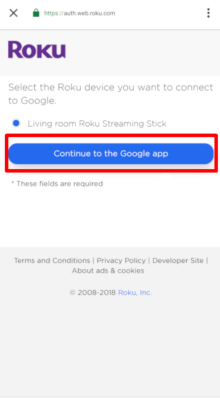 Continue to the Google app