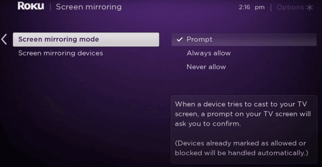 SCREEN MIRRORING oprions ON ROKU