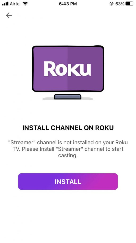 Install channel on roku