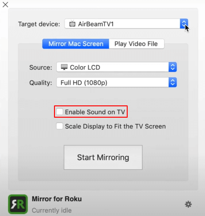 Enable Sound on TV