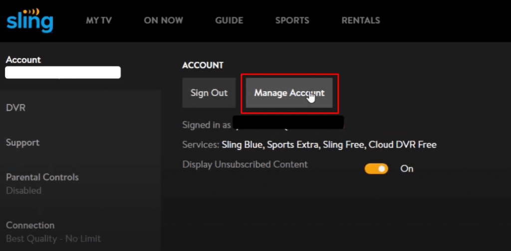 Select Manage account - Cancel Sling TV on Roku