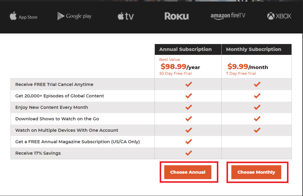 subscription packs - Outdoor Channel on Roku