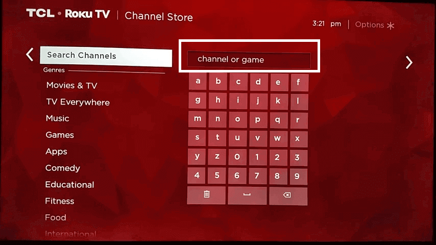 enter Body Groove on Roku search box