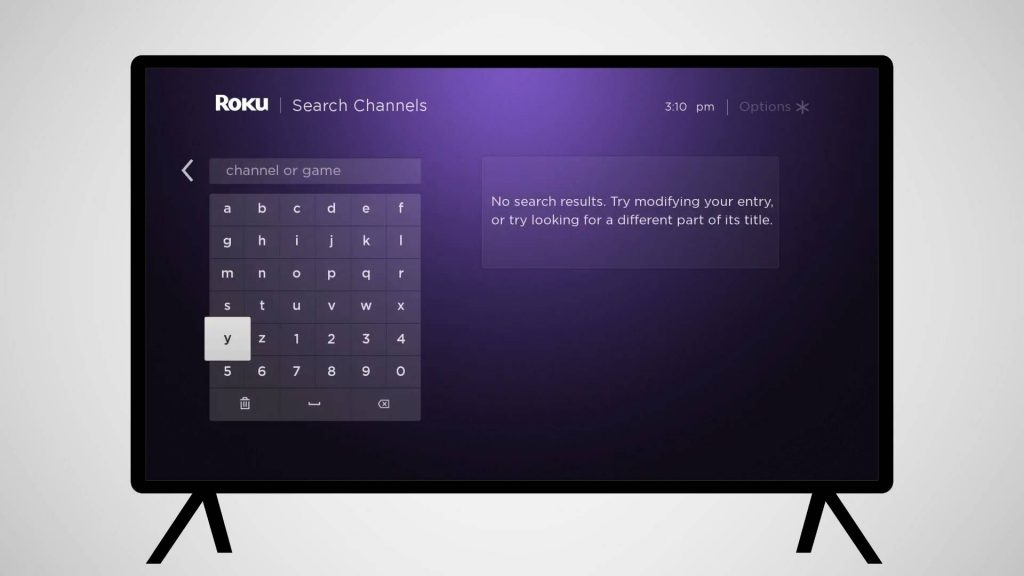 type Ovation NOW on Roku search screen
