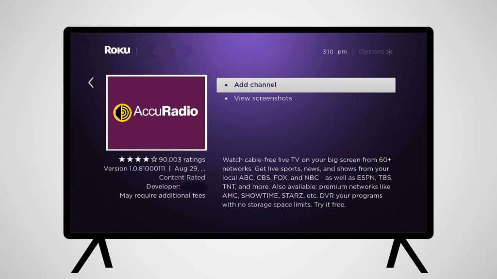 tap add channel - AccuRadio Roku