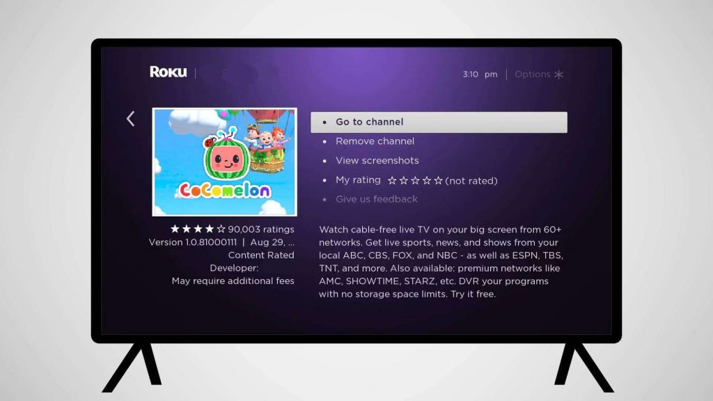 click Go to channel - CoComelon on Roku