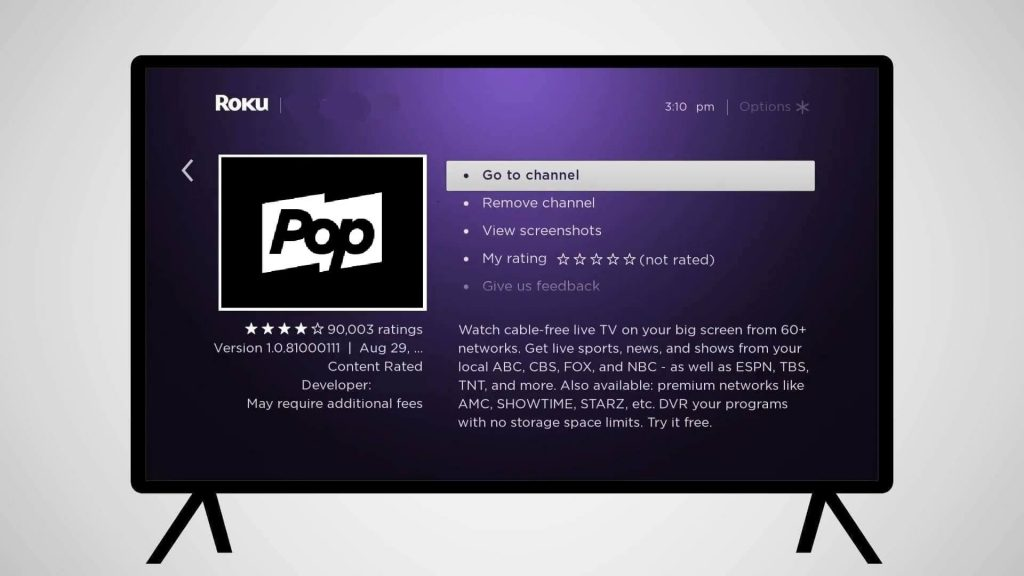 tap go to channel - Pop TV on Roku
