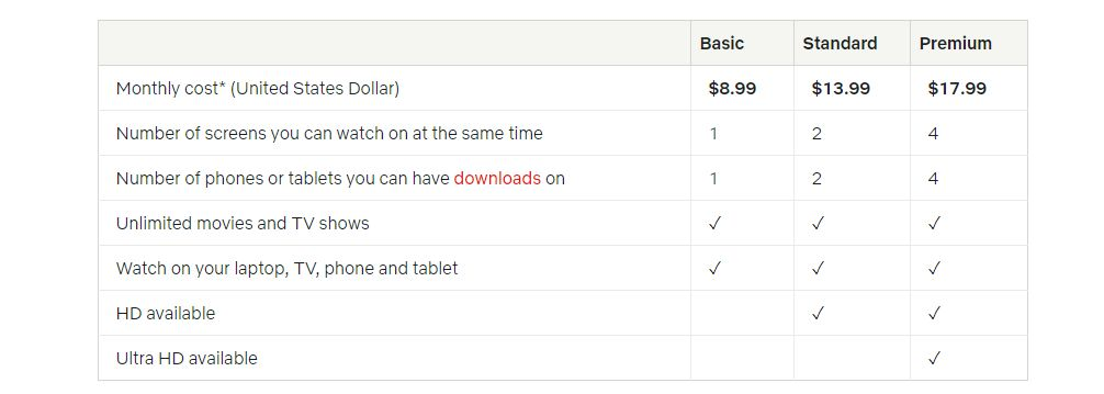 Netflix package details with price