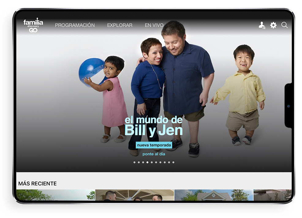 discovery familia go home page on app