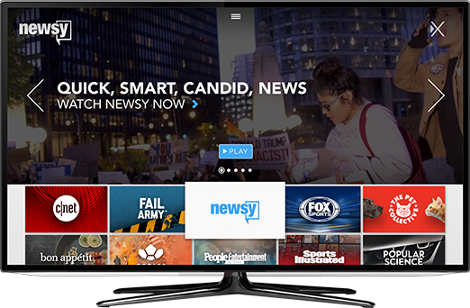 Newsy home screen to play content