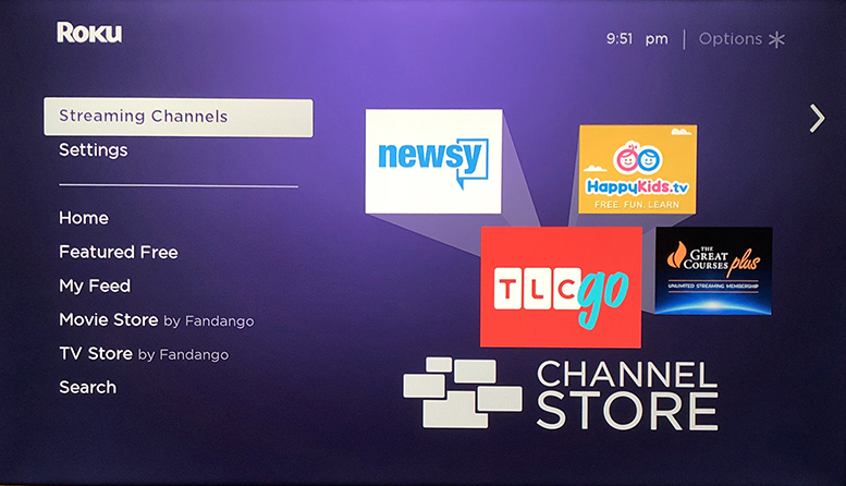 Streaming channels option on Roku