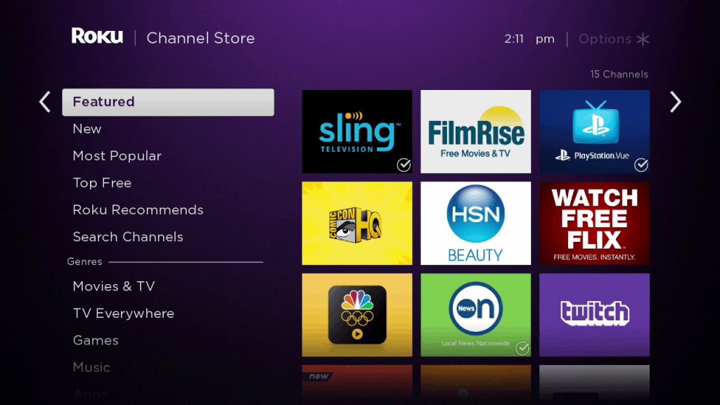 Roku channel store home screen