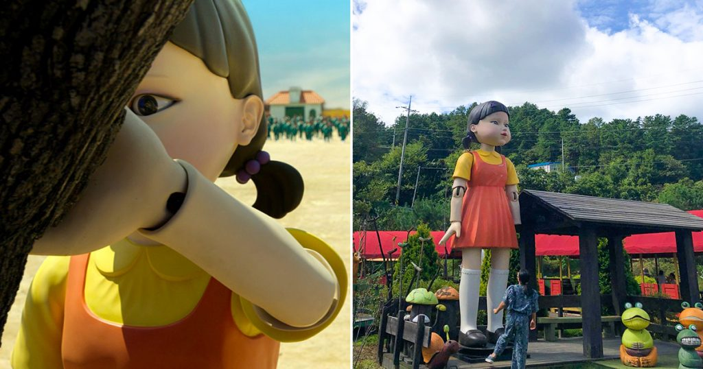 Squid game giant doll found in real life in South Korea's museum.