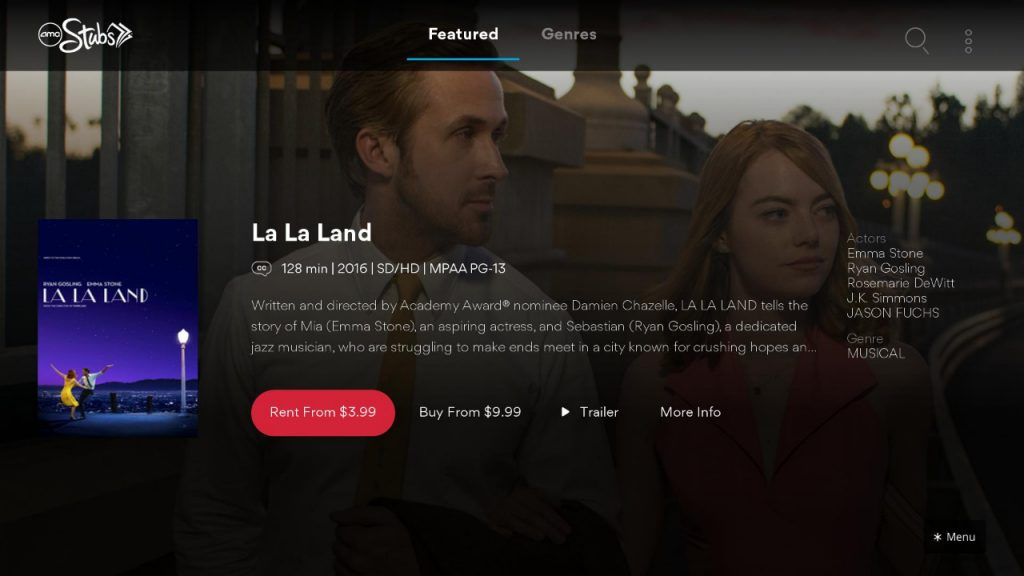 Rent/Buy option on AMC Theatres On Demand application