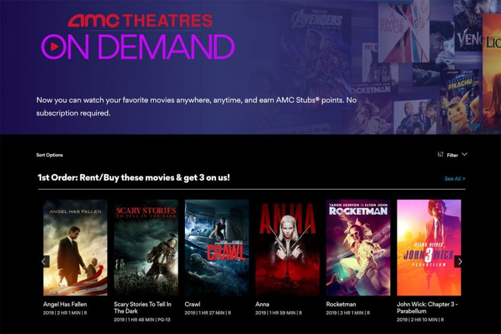AMC Theatres On Demand Home page on Roku