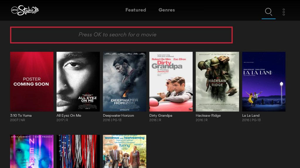 Search option on AMC Theatres On Demand app