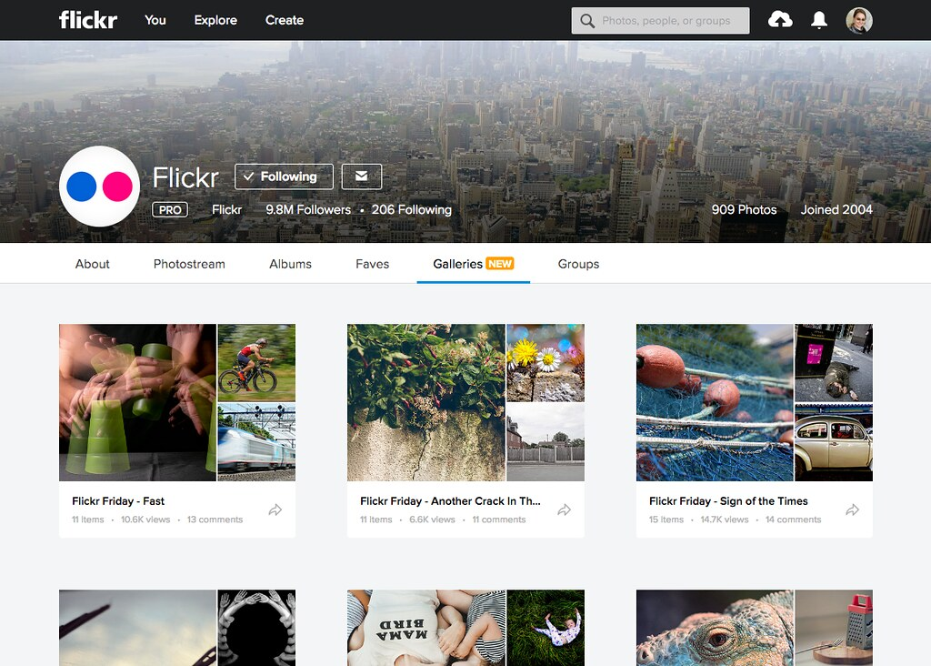 Flickr galleries section on app